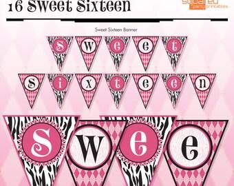 Zebra Sweet Sixteen - 16 - Banner - Hot Pink - DIY Print - Zebra Print and Hot Pink - Instant Download