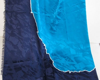 YSL Yves Saint Laurent Vintage 70s Oversized Silk Jacquard Shawl Scarf - Navy Blue & Turquois