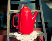 Vintage Red Ceramic Tea Pot