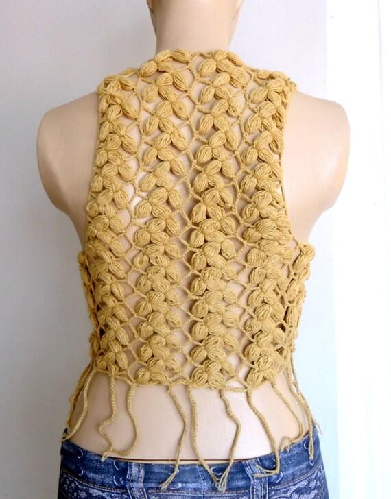 Crochet Bolero,Sleeveless Bolero ,Crochet Fringe Ecru Vest,short sleeveless vest,