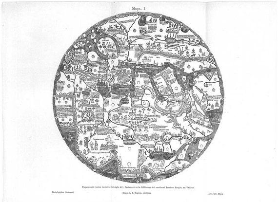 Vintage World Map, 18th Century Antique World Map Reproduction, Borgia Mappa Mundi 1920 Original Print, Tavola di Velletri,  Black and White