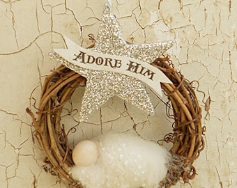 """Christmas Ornament """"Adore Him"""" Banner ~ Needle Felted Baby Jesus ~ Handcrafted Gift"""