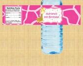 Giraffe Water Bottle Labels