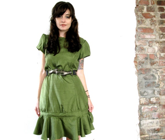 chartreuse muse. vintage chartreuse drop waist dress with bow detail. size medium