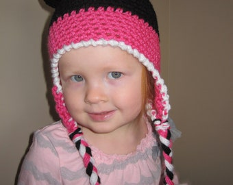 Pink Miss mouse- mouse ears crochet hat Newborn- Adult FREE US SHIPPING