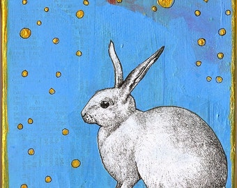 Blank greeting card: Celestial Rabbit