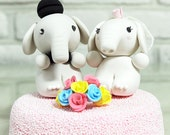 Custom Wedding Cake Topper- Lovely elephant couple