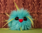 """Furry Monster Plush - 4"""" Teal and Lime Green Coodle"""