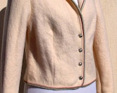 Wool Jacket, Cream Woollen Blazer, Wool Jacket Made in Austria - taffetablue