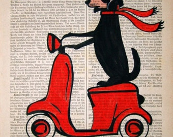DACHSHUND ART PRINT  Dachshund on Moped red freddy poster mixed media painting illustration doxie on vespa gift for dachshund lover