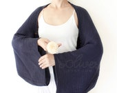 Long Sleeves Cotton Shrug Bolero / Poncho with Coconut Buttons in Dark Blue
