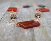 Womens Red Necklace Copper Jewellery Womans Wirework Square Red Carnelian Black Gold Hand Carved Glass Beads Fall Rustic Statement Jewellery