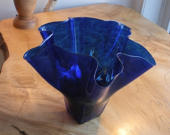 Hand Blown Glass Bowl - Cobalt Blue Luster Shell Bowl Form by Jonathan Winfisky