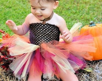 SUPER Fluffy Full Thanksgiving Fall Harvest Autumn Colors Tutu Dress Only for Nb Baby to 24 mos