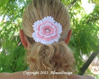 Crochet Pattern 060 - Crochet Flower Pattern - Flower Clip Pattern - Hair Clip Pattern - Hair Accessory Pattern - Girls - Ladies - Women