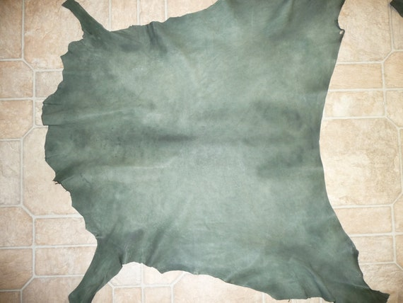 """30""""x29"""" 6.25 sq ft Distressed Rustic Spruce Green Goatskin Leather Hide 2-2.5oz/.8-1mm Visit PeggySueAlso"""