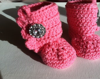Pink Crocheted Ruffle Booties with Rhinestone- for newborn -infant- baby