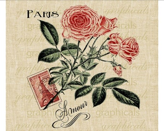 Red roses Paris Amour instant Digital download graphic image for iron on fabric transfer decoupage paper burlap pillows totes cards No. 524