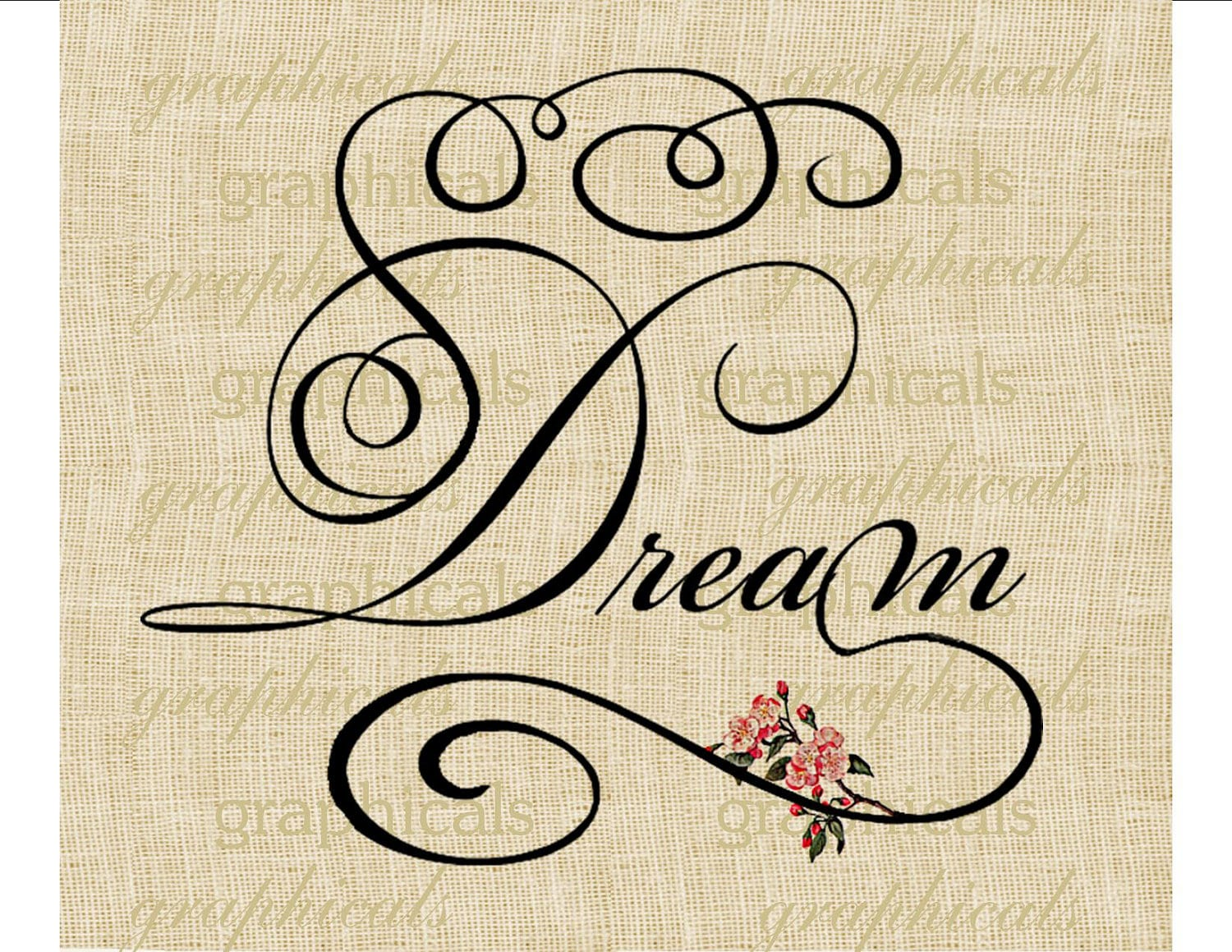 Dream calligraphy instant clip art pink flowers by graphicals