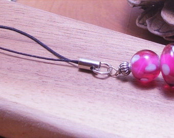 2 Bead Lampwork Beaded Cell Phone Charm-Mobile Phone Accessory