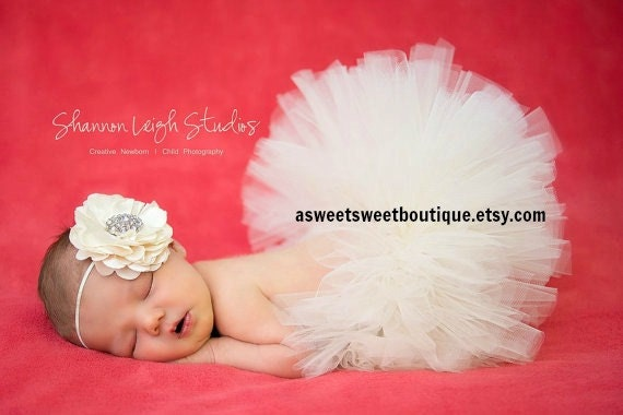Ivory Tutu Newborn Tutu Baby Tutu Sweet Grace Ivory Newborn Tutu With Matching Vintage Style Flower Headband Stunning Newborn Photo Prop
