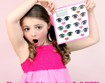 Pixie Doll Eyes & Lips Set of 7 Printed on Organic Cotton Sateen (Easy to Apply with Iron-on Adhesive)