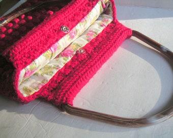 Vintage Crocheted Red Purse/Handbag. Retro Handbag