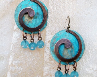 "HANDMADE Copper, Patina & Glass EARRINGS - ""Round 'n Round She Goes"" - Gypsy Dangles in Blue with Vintage Rhinestone Glass Dangles, Bohemian"