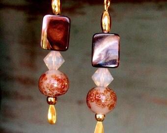 """HANDMADE Glass/Shell EARRINGS - """"Brown Velvet"""" - Brown MOP, Swarovski Taupe, Vintage Gold Flecked Glass, Gift 4 Her"""