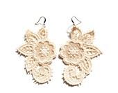Lace Earrings in Ivory