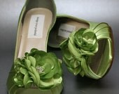 Wedding Shoes -- Spring Green Peeptoes with Matching Flower Adornment - DesignYourPedestal