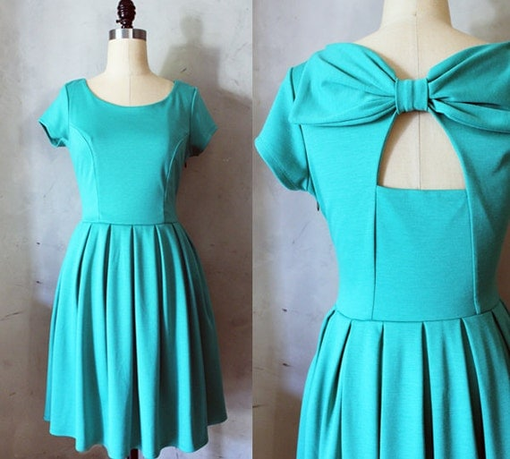 HOLLY GOLIGHTLY JADE - Teal dress with pockets // pleated skirt // back cut out // bridesmaid dress // vintage inspired // day // party