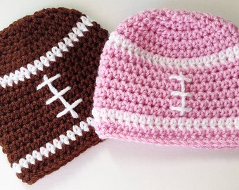 Twin Baby Hats, Football Beanie, Baby Girl Hat, Baby Boy Hat, Crochet Baby Hat, Toddler Football Hat, Child Hat