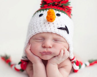 Infant Crochet Frosty the Snowman Hat