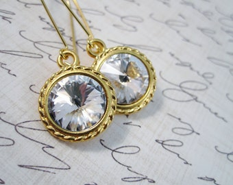 Swarovski crystal earrings - bridal glam crystal rivolis on gold kidney earwires