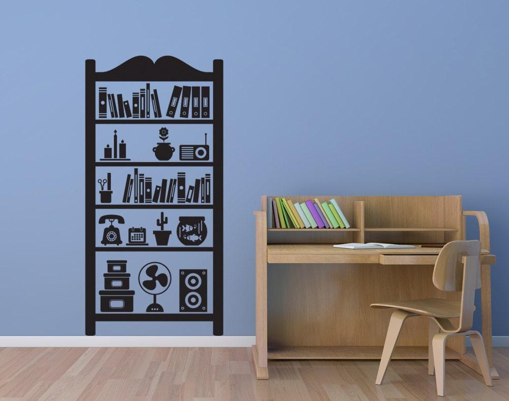 Bookshelf Books Fan Flower Phone Decal Vinyl Sticker - Vinyl wall decals books