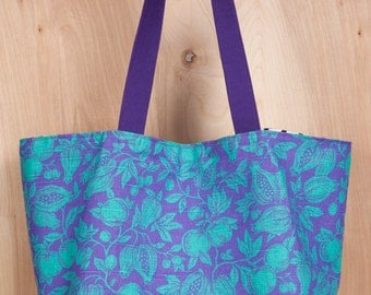 Tote bag- Canvas tote bag- Purple and aqua fruit- by beckyzimmdesign