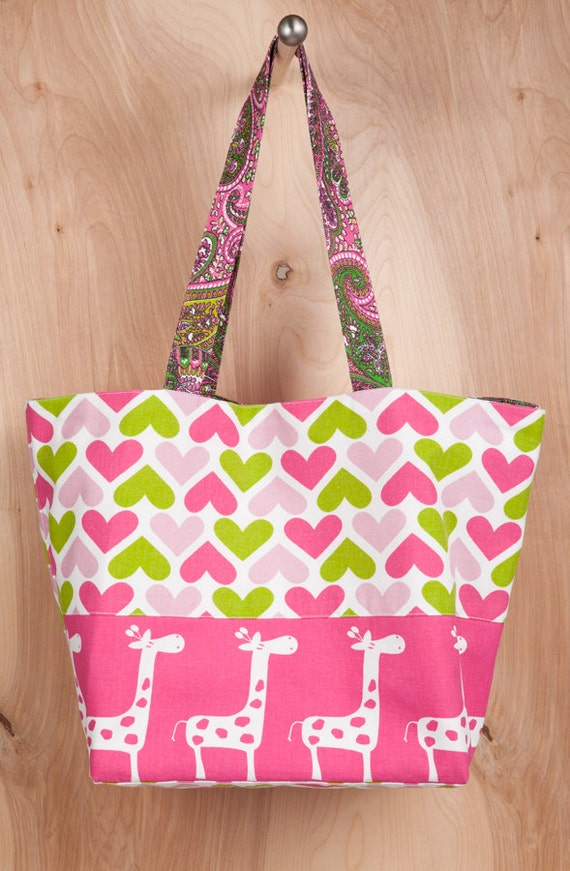 Valentine Tote bag- Cotton-Hot Pink Giraffe-Lime Green- Hearts- Paisley- by beckyzimmdesign