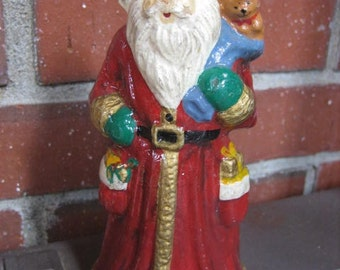 Vintage Santa Figurine Candle 6 Inch Tall 1950s Handpainted Shiny Finish Never Lit
