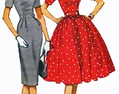 McCalls 5251 1950s Dress Sewing Pattern Full or Slim Skirt Wide Notched Collar Bust 32  UNCUT FACTORY FOLDED