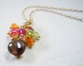 Smokey Quartz Gemstone Necklace with Gemstone Cluster in Summer Colors.