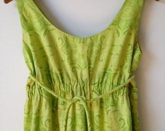 Vintage 60's Hawaiian Maxi Dress / Lemon Lime Empire Waist Dress S M