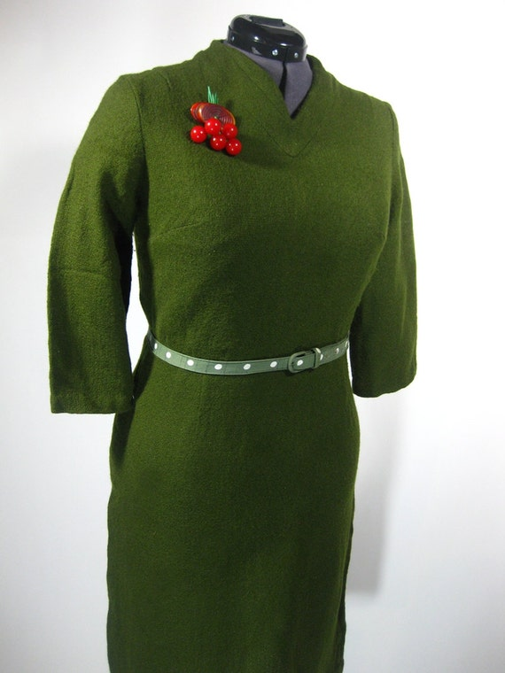 Vintage 1960s Emerald Green Wool Wiggle Dress from Carol Brent