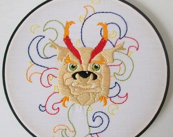 Hand Embroidered Fire Goblin Creature Art Hoop 8""