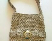 SALE!! Large Crochet Taupe Twist Tote Bag