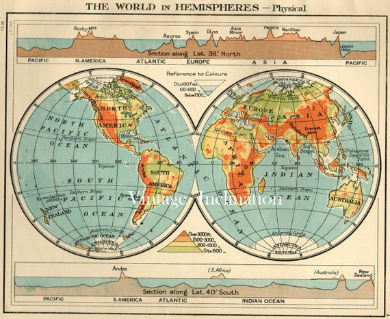 Antique WORLD Map 1930s ORIGINAL Map of the World