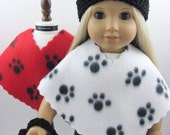4 Piece Fleece Poncho Set for The American Girl Doll, Paw Print