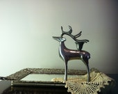 Sale/ Mid Century -Vintage scandinavian- Deer Candle Holder- Beautiful Silver plated