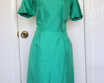 Vintage Green Silk Wiggle Dress