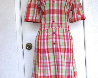 Plaid Cotton 1950's Dropped Waist Dress